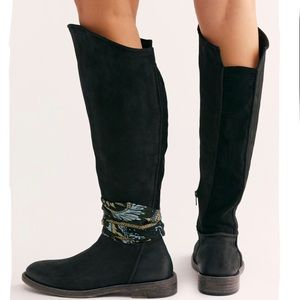 New Free People Rodeo Tall Black Leather Boots
